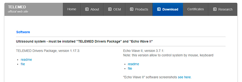 descarga software y drivers TELEMED